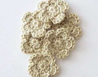 Tan Crochet Flower Appliques, Set of 6, Crochet Flower Embellishments, Crochet Flower Motif, Scrapbooking, Brown Flowers