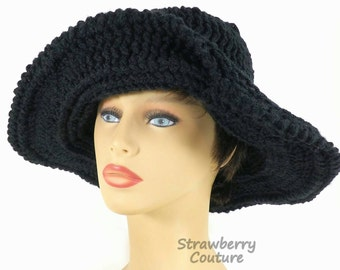 Floppy Hat, Womens Crochet Hat Womens Hat Trendy, Steampunk Hat, Black Hat, Frontier Wide Brim Hat, Wide Brim Black Hat