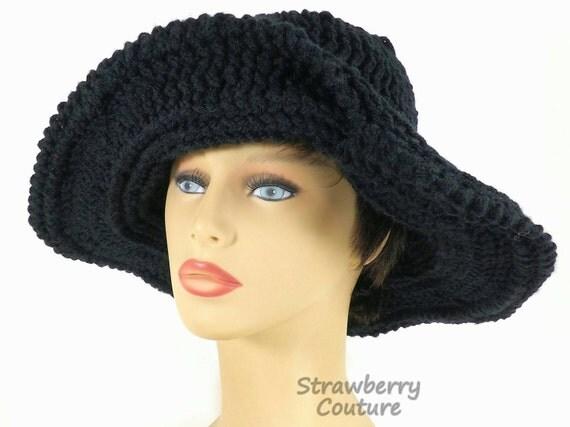 Floppy Hat, Womens Crochet Hat Womens Hat Trendy, Steampunk Hat, Black Hat, FRONTIER Wide Brim Hat, Wide Brim Black Hat, Strawberry Couture