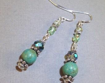 Turquoise Earrings - Silver Earrings - AB Czech Glass Earrings - Beaded Jewelry - Gemstone Jewelry - Dangle Earrings - Gift For Her