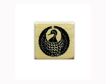 CRANE Motif Mounted Japanese rubber stamp, mon, Sweet Grass Stamps No.12
