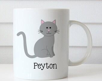 Child's Mug - Cat Mug Personalized with Child's Name (Plastic) - Kitten Mug