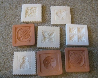 Lot of 8 unused push molds, polymer clay, friendly plastic, soap, cotton, paper, resin, ornaments, casting molds, UTEE, metal