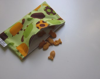 SNACK BAG Brown and Green Turtles one Small Waterproof Washable Reusable Snack Bags