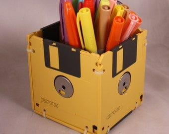 Floppy Disk Pen and Pencil Holder (DARK YELLOW)