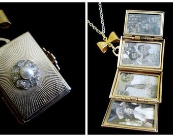 Epitome of Girly - Vintage Coro 4 Picture Locket Necklace