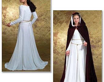 Butterick B4377 Sewing Pattern Medieval Dress & Cape Costume Womens Size EE 14-20