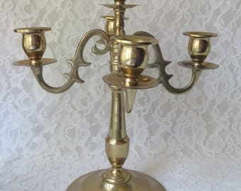Vintage Brass 5 Arm Candelabra Gothic Candle Holder Special Occasion Entertaining Centerpiece