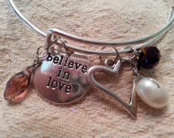 Modern charm bracelet - stackable  - Believe in Love, heart, crystal drop, pearl, dk purple bead