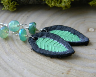 SALE - handstamped and painted leaves on black leather with mystic chrysoprase - dangle earrings - spring green
