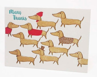 "Dachshunds ""Many Thanks "" set of 6 letterpress cards"