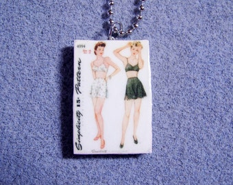 Retro Kitsch Sewing Pattern Lingerie Bra Panties 1940s Polymer Clay Necklace 4994