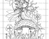 Fairy Sitting on Mushroom - Printable Coloring Page - Whimsical, Floral, Cute - Molly Harrison Fantasy Art - Instant Download