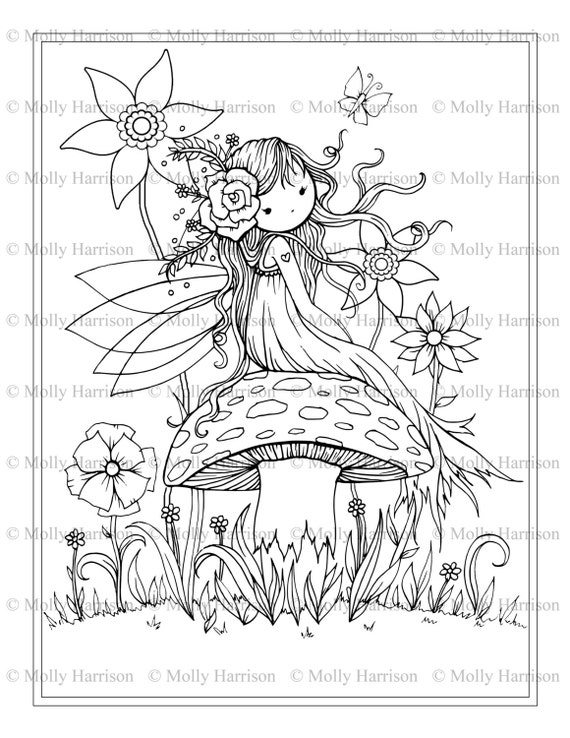 Fairy Sitting On Mushroom Printable Coloring Page