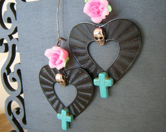 Day of the Dead HUGE HEART Earrings with Roses, Crosses, and Skulls