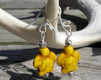 Yellow Stone and Silver Dangle Earrings