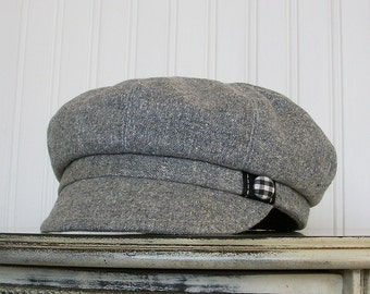 Womens Newsboy Hat- Gray and White Wool Tweed - Newsboy Cap - Womens Hats - Stormy - S