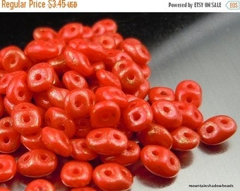 "25% OFF Summer Sale Super Duo Czech Glass Beads - 2.5x5mm 2 Hole Beads - 2.5"" Tube - Marbled Opaque Red (E5 - 6)"