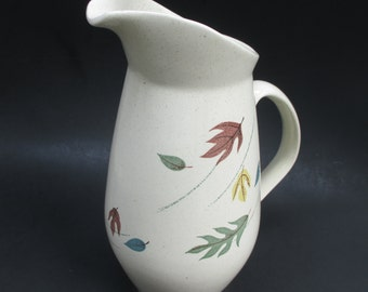 Vintage Franciscan Autumn Leaves Pitcher Mid Century Stoneware Pottery Handled Serving Earthenware