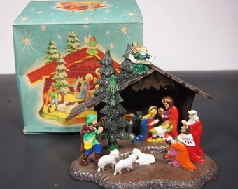 Vintage Plastic Nativity Set in Box Commodore Made in Hong Kong Retro Christmas Holiday Decoration 50s 60s