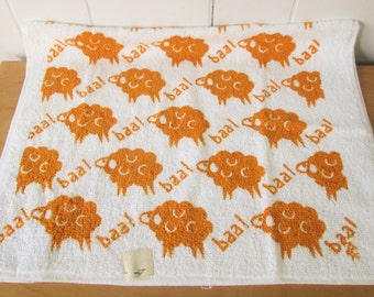 vintage NOS baa sheep terry towel Sayco