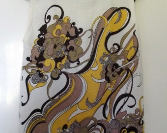 Vintage Yellow and White Sleeveless Shift Top - Excellent Condition - Swirly Pattern Knit
