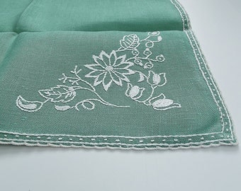 Vintage Tea Towel -Green and White  - White Embroidered Flowers on a Mint Green background