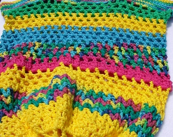 Bright Colors - Yellow, Blue, Green, Pink Market Bag, Tote, Beach Bag, Gym Carrier