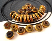 100 Small Brown Horn Beads, 8mm, Two Tone, Burnt Brown, Horn Spacer Beads, Chocolate Brown, Caramel Brown, Horn Rondelle, Horn Disk HN12