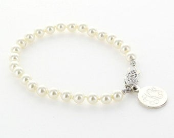 Monogrammed Sterling Silver Charm Pearl Bracelet | Engraved Ivory Pearl Bracelet | Monogrammed Sorority Jewelry | Engraved Monogram Bracelet