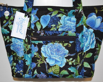 Quilted Fabric Handbag Purse Black with Beautiful Blue Flowers