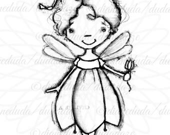 Tulip Flower Fairy Digital Stamp - Printable - Art to Color by Duda Daze