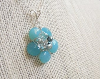 Aqua Flower Pendant, Chalcedony. Sterling Silver, Blue, Turquoise