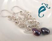 Peacock Pearl dangle Earrings Argentium Silver