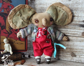 Jack Fellows, elephant, Primitive cloth doll,