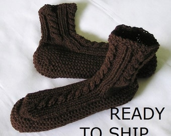 Mens Slippers Bedsocks, Handknitted in Espresso Brown, Size 11 - 12