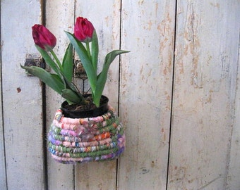 BULB GARDEN VASE  Hanging  hand coiled textile art   basket with tulip