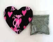 Catnip Heart Toy with Catnip  Retro Cats Refillable