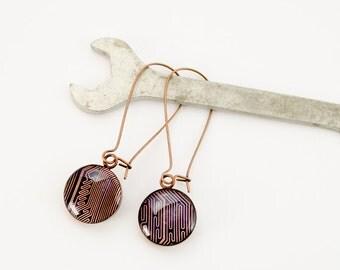 Copper Recycled Circuit Board Earrings - Copper Dangle Earrings - Nerdy Earrings - Engineer Earrings