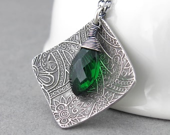 Emerald Necklace Green Necklace Gemstone Jewelry Sterling Silver Square Necklace Pendant Unique Handmade Jewelry Gift for Women - Contrast