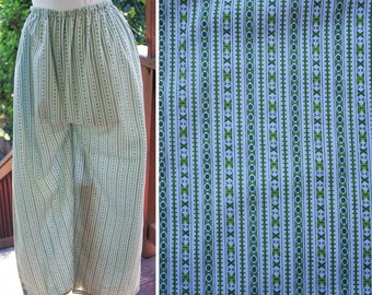 GROOVY 1950's 60's Vintage Green & White Striped PJ Pants with Elastic Waist // size Medium