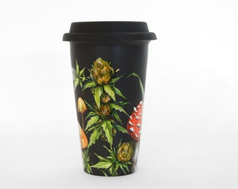 Black Ceramic Travel Mug  - Cannabis and Shrooms - Botanical Collection