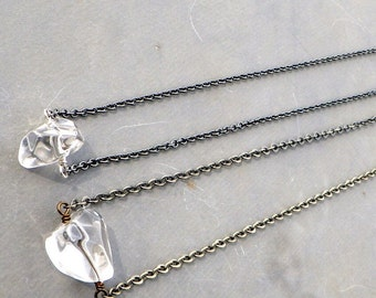 crystal quartz necklace, crystal quartz on simple long chain, long gunmetal chain, long brass chain