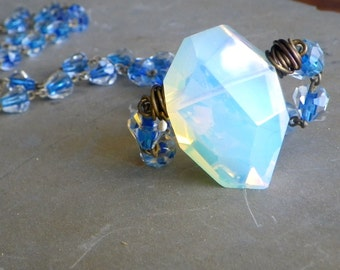 large opalite necklace, large opalite pendant necklace, glass rosary necklace, long opera necklace