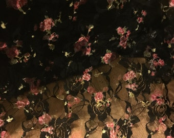 Stretch  Lace Fabric Rose Floral Pattern
