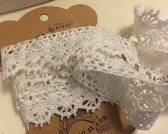 White Cotton Crochet Lace Trim 8 Yards
