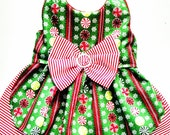Dog Dress Fancy Harness Christmas Glitter Candy Stripes Bling for your yorkie or chihuahua ckc spaniel
