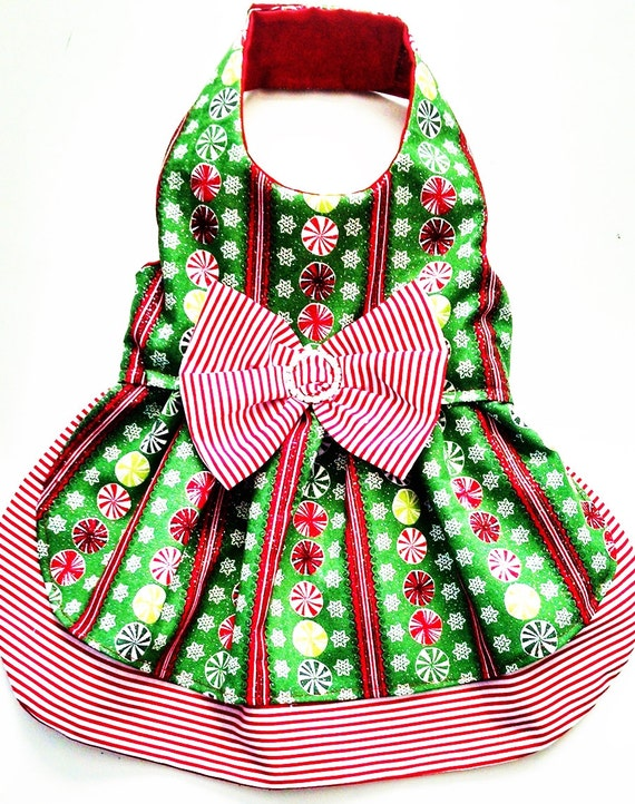 Dog dress fancy harness christmas glitter candy stripes bling for your