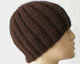 Brown ribbed beanie hat, skull cap, ski snowboard, winter hat, knit toque, beanie hat, brown hat, ski skateboard, mens womens hat, chemo cap