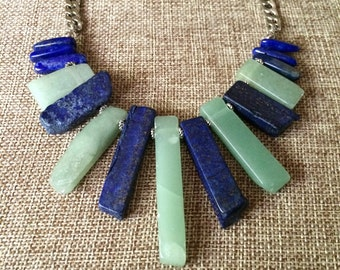Lapis Lazuli and Aventurine Necklace / Aventurine Lapis Lazuli Statement Necklace / Green and Blue Necklace / Bohemian Layering Necklace